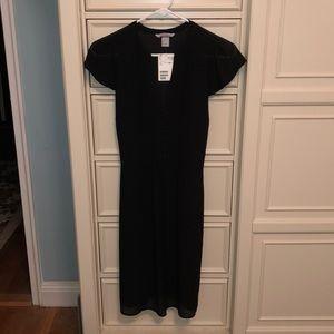 H&M black dress cap flutter sleeve